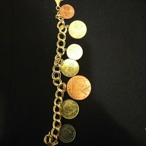 Jewelry - Sterling Silver 925 Euro Coin Charm Bracelet